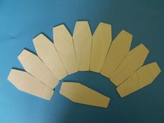 10 Birch ply wooden coffin shapes Halloween pagan decoration bunting gift tag