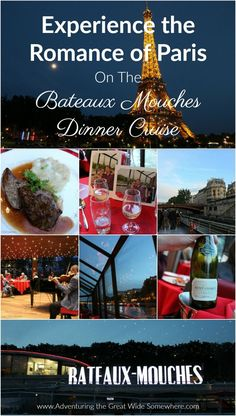 See the City of Lights from a new perspective by booking a dinner cruise on the Bateaux Mouches! Cruise along the Seine, enjoy a glass of wine on the deck, and watch the Eiffel Tower sparkle as you relax in luxury.