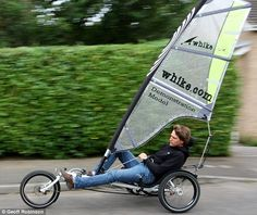 Sail on by: Ned Aufenast, from Suffolk, speeds past on Britain's first roadworthy wind-powered bike the Whike Trike Bicycle, Recumbent Bicycle, Cargo Bike, Bmx, Rando Velo, Kite Buggy, Char A Voile, Power Bike, Drift Trike