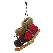 CANVAS Red Buffalo Plaid Booties Ornament