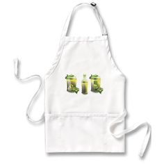 Olive Oil Apron for the chef who is an Olive Oil lover- EVOO (Extra Virgin Olive Oil) - fresh green olives and bottled oil