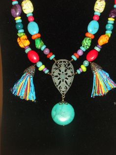 TASSELS FUNTurquoise multi color red green blue by powerofgems, $57.95