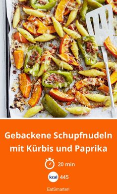 Baked Schupfnudeln with pumpkin and paprika - Baked Schupfnudeln with pumpkin and bell pepper – smarter – calories: 445 kcal – time: 20 min - Vegetarian Breakfast Recipes, Raw Food Recipes, Healthy Recipes, Fall Dinner Recipes, Fall Recipes, Stuffed Peppers Healthy, Potato Noodles, Healthy Sandwiches, Quick Easy Dinner