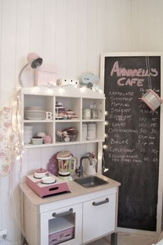 Adorable playroom cafe (featuring an IKEA DUKTIG mini kitchen! Ikea Play Kitchen, Play Kitchens, Mini Kitchen, Toy Kitchen, Kitchen Time, Cubby Houses, Play Houses, Ikea Duktig, Wendy House