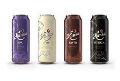 Ej. de info despejada y gráfica al rededor, bien resuelta y de equilibrio de color. Hansa series of special beer - Scandinavian Design Group