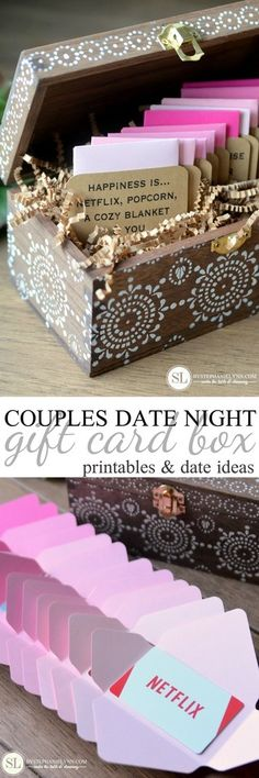 Date Night Gift Card Box Not a believer of Valentine's Day? DIY this Date Night Gift Card Box for your significant other – 12 pre-planned date ideas for two! Use Valentine's Day as an excuse to spoil your partner a little. Funny Valentine, Valentine Day Gifts, Kids Valentines, Craft Gifts, Diy Gifts, Party Gifts, Card Box Wedding, Diy Wedding, Gift Ideas