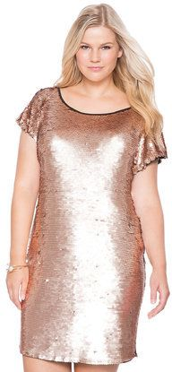 Plus Size Sequin Shift Dress