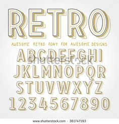 Vector Retro Font with shadow. Vintage Alphabet on grunge background