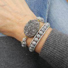 Silver Druzy and Silver Druzy Beads Double Wrap Bracelet on Grey Leather