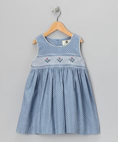 Take a look at this Lil Cactus Blue Polka Dot Smocked Corduroy Dress - Girls on zulily today!