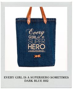 Items similar to KlassDSign Tote Bags - Every girl is a superhero sometimes leather and denim on Etsy Every Girl, My Bags, Dark Blue, Jeans, Reusable Tote Bags, Superhero, Trending Outfits, Unique Jewelry, Handmade Gifts