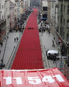 Bosnia remembers: Empty chairs laid out in Sarajevo in memory of 11,541 killed 20 years after bloody conflict began  Chair laid out for every man, woman and child killed in conflic      Read more: http://www.dailymail.co.uk/news/article-2126117/Bosnia-remembers-11-541-chairs-laid-Sarajevo-memory-dead-20-years-bloody-conflict-began.html#ixzz1rIH0MjE1Bosnia remembers: Empty chairs laid out in Sarajevo in memory of 11,541 killed 20 years after bloody conflict began.  -dailymail.co.uk