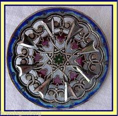 Antique French Georgian Cut Steel & Enamel Buckle Buttons Fine Openwork (1753) | eBay