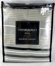 Home CYNTHIA ROWLEY Cotton Striped Shower Curtain Black White Grey Tan  RN 17730 #CynthiaRowley #Traditional