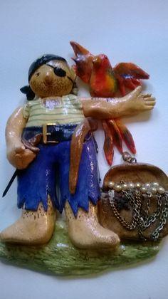 Pirate with parrot (salt dough) by Gabriella Vantini