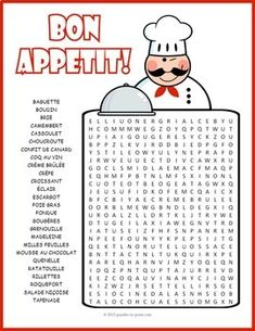 French Food Word Search Puzzle:A word search puzzle featuring the names of various French specialties. Tantalize your st French Teaching Resources, Teaching French, French Worksheets, Worksheets For Kids, Food Vocabulary, Vocabulary Words, Core French, French Classroom, French Teacher