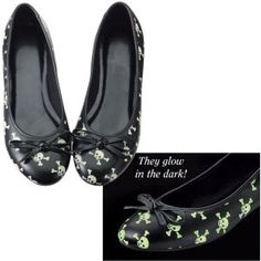 "Skull and Crossbones Flats  Glow in the Dark. Pirate skulls and crossbones grin in the daylight and glow at night, adding an air of adventure to these sleek, ""plunder-anywhere"" flats! Black bows top the round toes. Polyurethane uppers; nonskid soles. Imported. Color: Black/White. Womens medium-width, whole sizes 6-12; half sizes, order next larger size.  $59.95  Pyramid Collection"