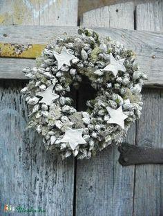 WHITE-téli,  vintage,karácsonyi ajtódísz,koszorú,kopogtató,,asztaldísz,falidísz (galamb70) - Meska.hu
