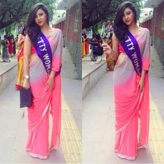 Check out this post - COLLEGE FAREWELL SAREE - MY STYLE created by Yuktibakshiii and top similar posts, trendy products and pictures by celebrities and other users on Roposo. Saree Draping Styles, Saree Styles, Saree Dress, Sari, Farewell Sarees, Simple Kurta Designs, Sarees For Girls, Modern Saree, Simple Sarees