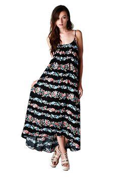 Lovestitch Women's Floral Striped Flowy Maxi Dress