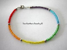 Rainbow Anklet  Beaded Anklet  Glass Beads  by TwoFeathersJewelry, $10.00
