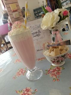 Milkshake in vintage glass with striped vintage straw ♥ #tearoom #milkshake #yummy