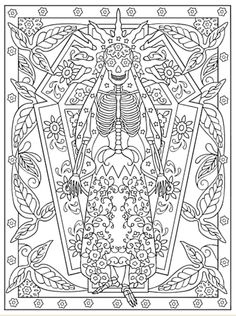Creative Haven Day Of The Dead Coloring Book, Dover Publications Sample Page Skull Coloring Pages, Mandala Coloring Pages, Animal Coloring Pages, Coloring Book Pages, Printable Coloring Pages, Coloring Sheets, Adult Coloring, Mandala Art, Flower Mandala
