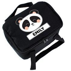 Personalised Black Lunch Bag - Panda