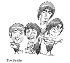 The Beatles, caricature by David Levine