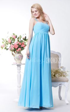 Empire Spaghetti Straps Chiffon A Line Bridesmaid Dress. Find your dream bridesmaid dresses on www.doriswedding.com. Sort by color, designer, fabric and more and discover the bridesmaid dress you love. #long #blue #light #DorisWedding.com