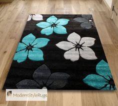 Black Teal Blue and Grey Flowers Pattern Rug Very Modern Design in 2 Sizes | eBay