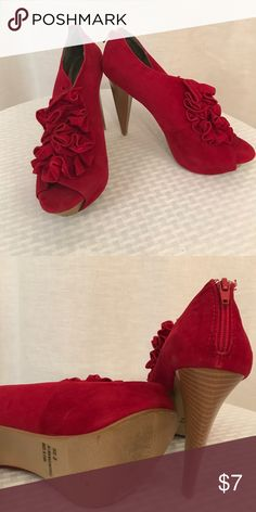 Shoes Ruffled open toed heels with zip up back. Charlotte Russe Shoes Heels