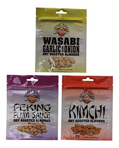 Heart Ridge Farms Gourmet Dry Roasted California Almonds in Resealable Pouch 3 bags 7 ounces each Asian Flavor Pack  Wasabi Kimchi Peking Plum -- Be sure to check out this awesome product.