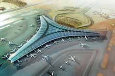 Kuwait International Airport by Foster + Partners. SEE MORE: http://www.architypereview.com/27-airports-transportation/projects/1129-kuwait-international-airport# #airports #transportation #airports+ transportation #architecture #design #architects #transitdesign #planes #airplane #trains #subways #railroads Image 1 of 12