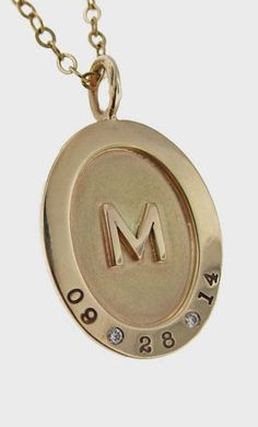 Lovely Clusters - Beautiful Shops: Wide Rim Oval Pendant with Raised Gold Letter and Genuine Diamonds & Birthdate Gold Letter Pendants, Gold Initial Pendant, Gold Letters, Oval Pendant, Colored Diamonds, White Diamonds, Cute Jewelry, Jewlery, Jewelry Gifts