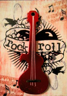 "ATC from 2010 (5/4) ""Rock & Roll"" @Lynn Bonn  #ATC, #found object art, #guitar, #Rock and roll, #music"