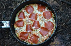Camping pizza always tastes so good.