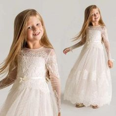 2015 Princess Sheer Tulle Flower Girls Dresses For Weddings Long Sleeves Lace First Communion Dresses Girls Pageant Dresses Little Girls White Dress, Little Girl Pageant Dresses, Girls Formal Dresses, Sexy Dresses, Lace Dresses, Dress Formal, Dress Lace, Flower Dresses, Formal Gowns