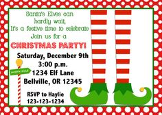 Elf Christmas Party Invitation Print Your Own 4x6 by vmiddleton5