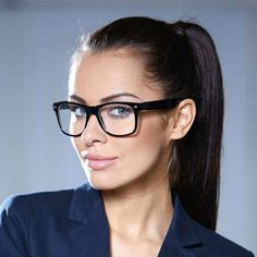 """Details about Square Clear Frames """"Kylie"""" Clear Lenses Women Eyeglasses Black, Brown Clear - Eyes - Brille Super Glasses, Big Glasses, Girls With Glasses, Makeup With Glasses, Glasses For Round Faces, Glasses Frames Trendy, Black Frame Glasses, Glasses Frames Square, Eyeglasses For Women Round Face"""