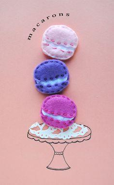 Felt Macaron Hairclips -- so adorable!