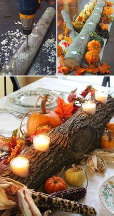 Tree log centerpiece with tea lights.