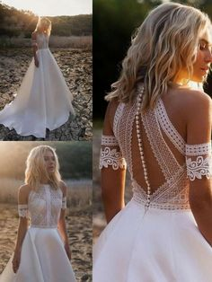 onlybridals High Neck Wedding Dresses Beach Boho A-Line Bridal Gowns Lace Sleeveless Custom, Welcome to our store. We will provide best service and product for you. Please contact us if you need more information than it is stated below .We cou. Lace Wedding Dress, Top Wedding Dresses, Fit And Flare Wedding Dress, Wedding Dress Trends, Boho Wedding, Bridal Dresses, Wedding Gowns, Mermaid Wedding, Tulle Wedding