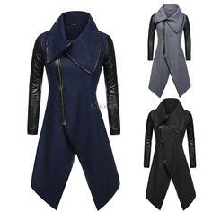 Women Coat Outwear Irregular Hem Faux Leather Patchwork Long Sleeve CO99 | Clothing, Shoes & Accessories, Women's Clothing, Coats & Jackets | eBay!