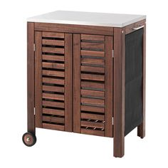 IKEA ÄPPLARÖ/KLASEN Storage cabinet, outdoor Brown stained/stainless steel colour 77 x 58 cm The ÄPPLARÖ/KLASEN storage cabinet provides an extra storage area which can be moved easily. Furniture, Staining Wood, Steel Shelf, Cabinet, Ikea, Storage Cabinet, Locker Storage, Storage, Wall Paneling