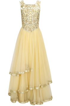 Beige zardosi cutwork gown available only at Pernia's Pop-Up Shop.