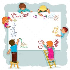 Buy Happy Children Together Draw on a Large Sheet by vectorpocket on GraphicRiver. Vector illustration of happy children draw on a large sheet of paper, side view Boy Drawing, Drawing For Kids, Art For Kids, Crafts For Kids, School Frame, Kids Background, Kids Vector, Borders For Paper, New Baby Boys