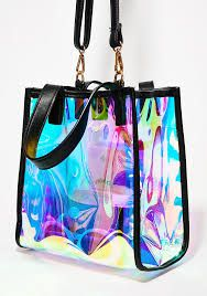 metallic leather rainbow colours handbag with chain Rock Style, Hologram, Metallic Leather, Rainbow Colors, Jewelry Shop, Online Boutiques, Purses And Bags, Shoulder Strap, Take That