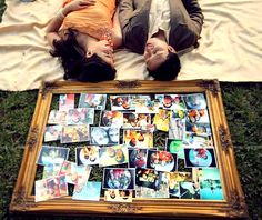 engagement with a vintage photo collage Vintage Photos, Engagement Photos, Polaroid Film, Collage, In This Moment, Frame, Picture Frame, Collages, Collage Art