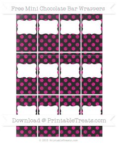 Magenta Dotted Pattern  Chalk Style DIY Mini Chocolate Bar Wrappers